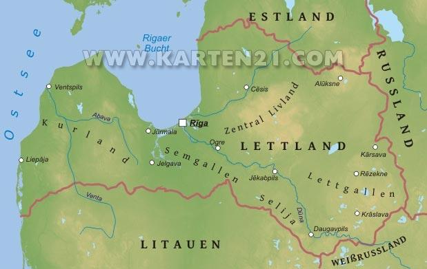 Physische karte von lettland